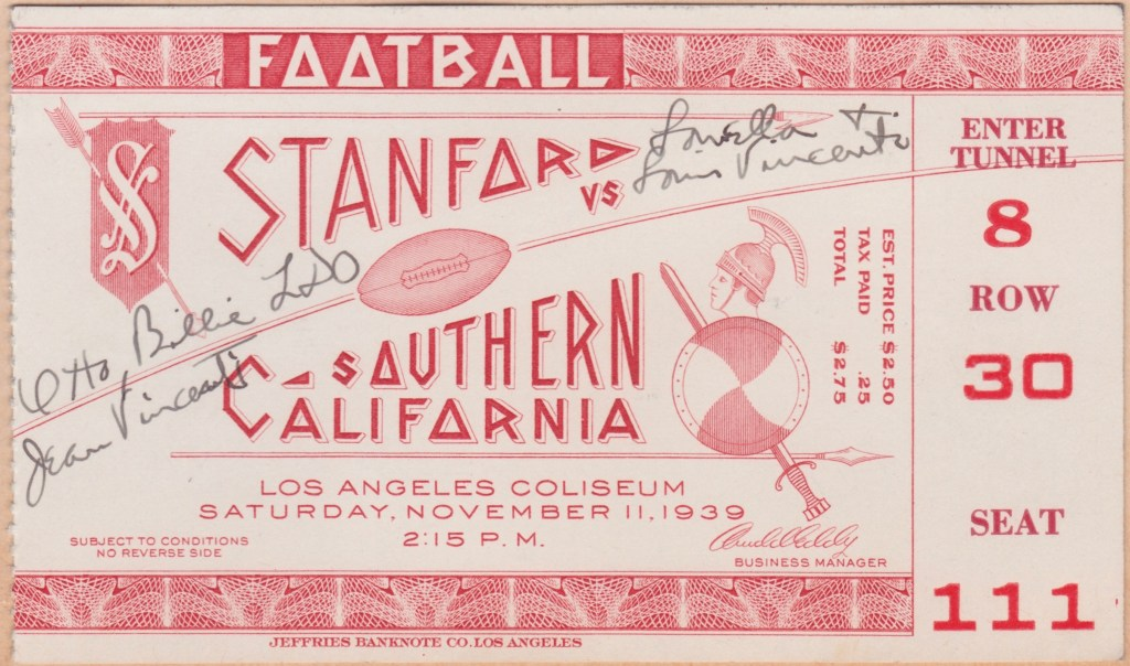 1939 NCAAF USC ticket stub vs Stanford