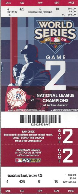 2009 World Series Game 2 Phillies at Yankees ticket stub 25