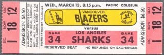 1974 WHA Los Angeles Sharks at Vancouver Blazers ticket stub