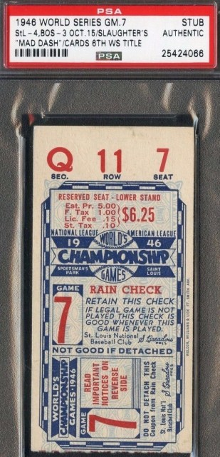 1946 World Series Game 7 Cardinals at Red Sox Ticket Stub 250