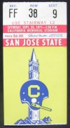 1971 NCAAF San Jose State at California ticket stub
