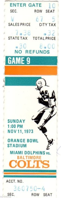 1973 NFL Colts at Dolphins ticket stub