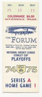 1975 NHL Playoffs Maple Leafs at Kings ticket stub
