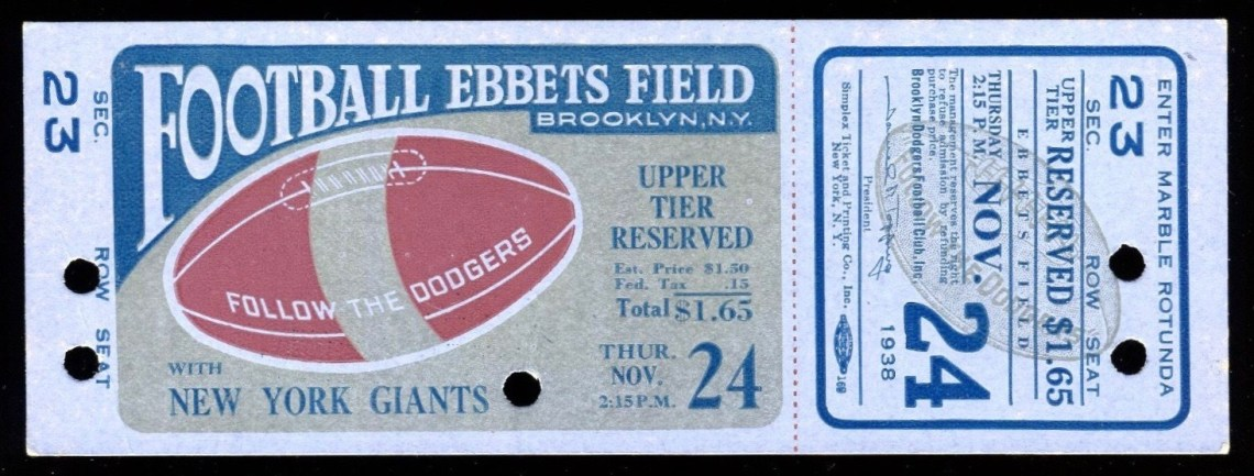 1938 NFL Giants at Dodgers Ebbets Field ticket stub