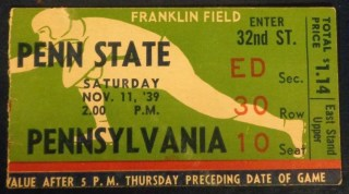 1939 NCAAF Penn State vs Pennsylvania Ticket Stub