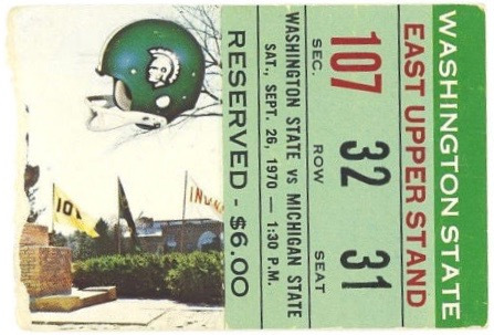1970 NCAAF Washington State at Michigan State ticket stub