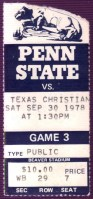 1978 NCAAF TCU at Penn State ticket stub