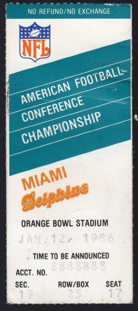 1986 AFC Championship Game Ticket Stub Patriots at Dolphins 11.05
