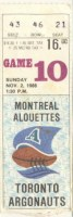 1986 CFL Alouettes at Argonauts ticket stub