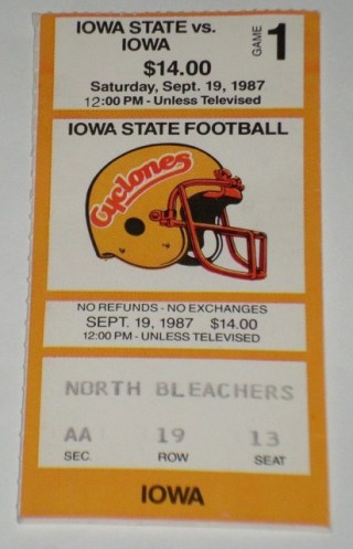 1987 NCAAF Iowa at Iowa State ticket stub