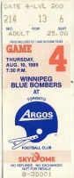 1989 CFL Blue Bombers at Argonauts ticket stub
