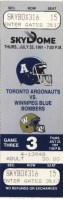 1991 CFL Blue Bombers at Argonauts ticket stub
