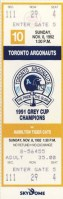 1992 CFL Tiger-Cats at Argonauts ticket stub