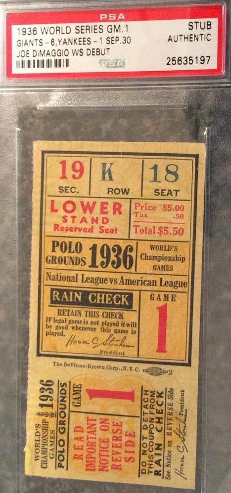 1936 World Series Game 1 Ticket Stub Yankees at Giants
