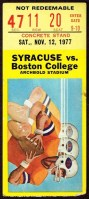 1977 NCAAF Boston College at Syracuse ticket stub