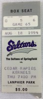 1994 Sultans of Springfield ticket stub vs Cedar Rapids