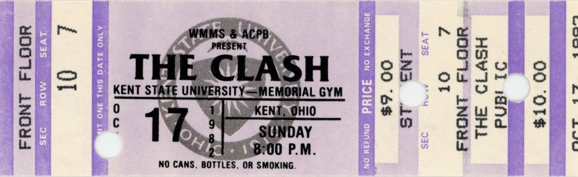 1982 The Clash at Kent State University ticket stub