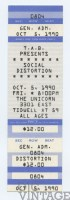 1990 Social Distortion The Unicorn Houston ticket stub