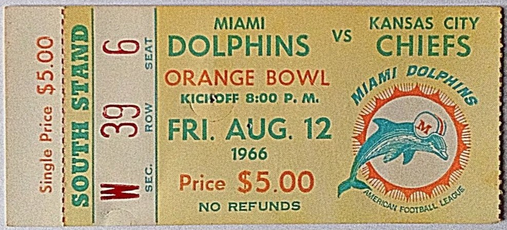 1966 AFL Chiefs at Dolphins ticket stub