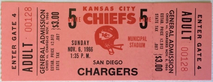 1966 AFL Chargers at Chiefs ticket stub