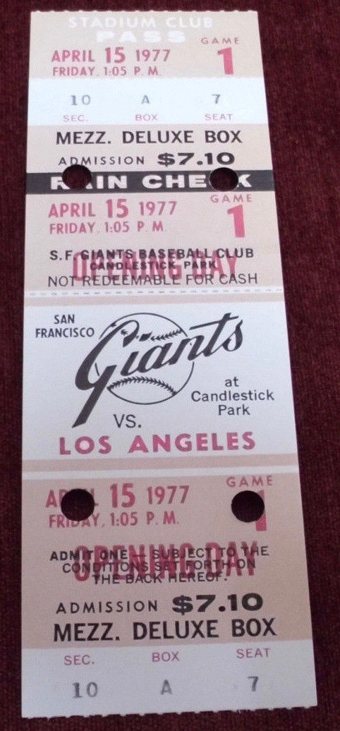 1977 MLB Dodgers at Giants opening day ticket stub