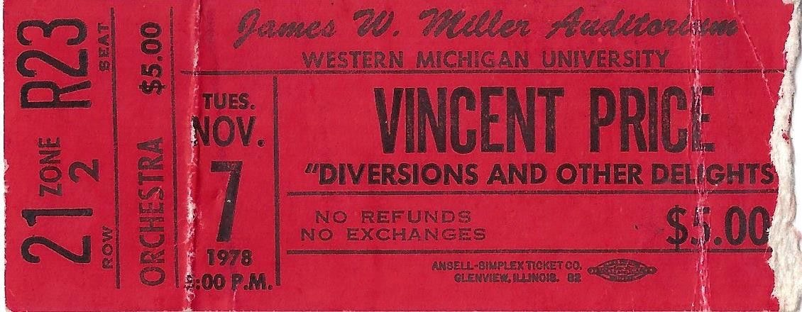 1978 Vincent Price ticket stub Kalamazoo