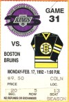 1992 NHL Bruins at Kings ticket stub