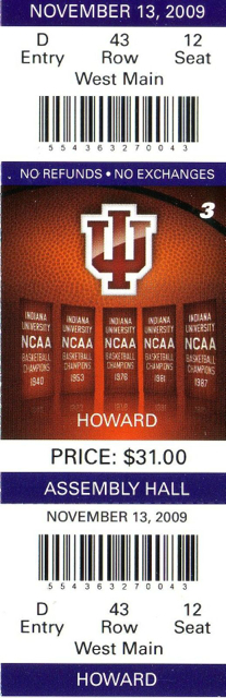 2009 NCAAMB Howard at Indiana ticket stub