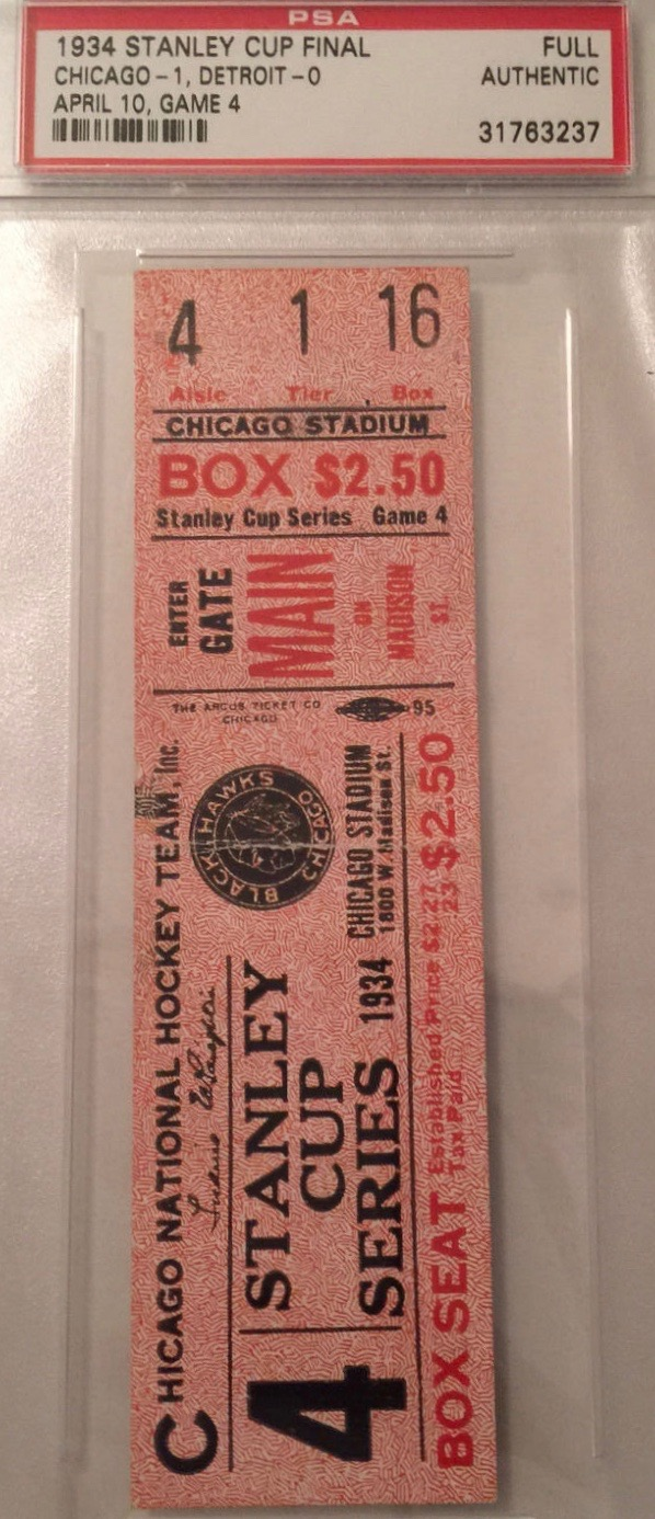 1934 Stanley Cup Final Game 4 Red Wings at Blackhawks ticket stub