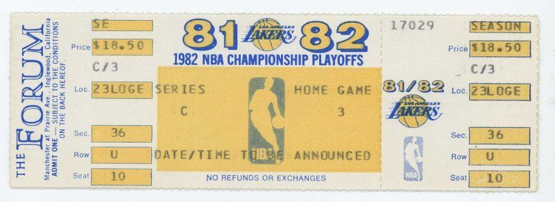 1982 NBA Finals Game 6 76ers at Lakers ticket
