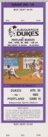 1989 Albuquerque Dukes unused ticket vs Portland