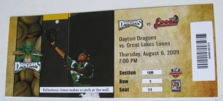 2009 Midwest League Great Lakes Loons at Dayton Dragons ticket stub