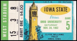 1962 NCAAF Ohio at Iowa State ticket stub