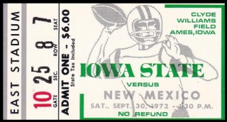1972 NCAAF New Mexico at Iowa State ticket stub.