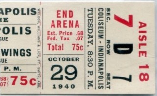 1940 Indianapolis Capitals ticket stub vs Detroit Red Wings 6.50
