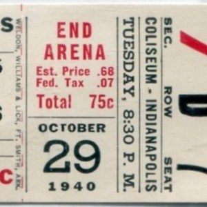 1940 Indianapolis Capitals ticket stub vs Detroit Red Wings 10/29/1940