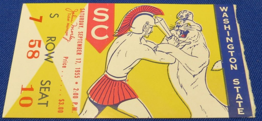 1955 NCAAF Washington State at USC ticket stub