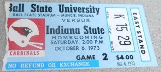 1973 NCAAF Indiana State at Ball State ticket stub