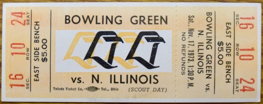 1973 NCAAF Northern Illinois at Bowling Green ticket stub