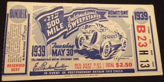 1939 Indianapolis 500 ticket stub 69