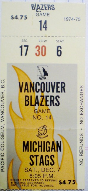 1974 WHA Michigan Stags at Vancouver Blazers ticket stub