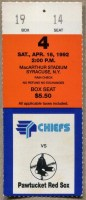 1992 Syracuse Chiefs ticket stub vs Pawtucket