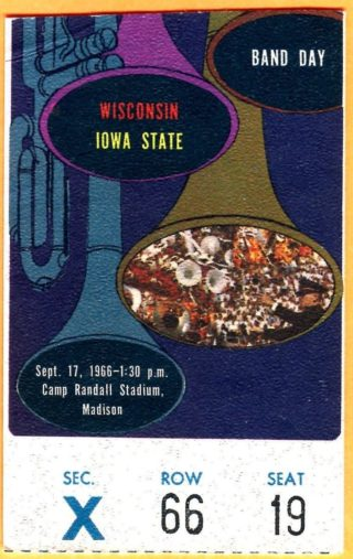 1966 NCAAF Iowa State at Wisconsin ticket stub