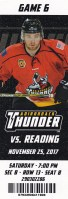 2017 ECHL Adirondack Thunder ticket stub vs Reading