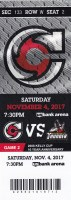 2017 ECHL Cincinnati Cyclones ticket vs Adirondack