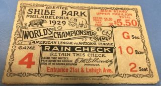 1929 World Series Game 4 Ticket Stub Cubs at Athletics