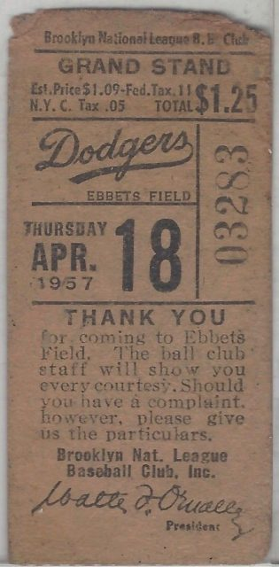 1957 MLB Pirates at Dodgers Opening Day