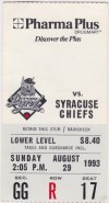 1993 Ottawa Lynx ticket stub vs Syracuse