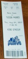 2013 Pacific Coast League Reno Aces at Tucson Padres ticket stub