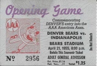 1955 American Association Indianapolis Indians at Denver Bears 25